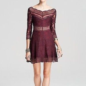 Free people lacey affair dress eggplant plum